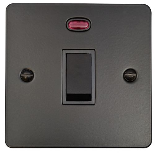 G&H FFB26B Flat Plate Matt Black 1 Gang 20 Amp Double Pole Switch & Neon